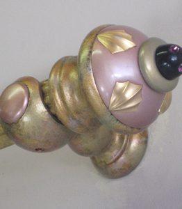 Susan Goldstick Decorative Finials Erte Standard - Light Bronze/Jade/Black Cabochon
