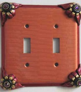 Susan Goldstick Decorative Switchplates Bloomer Poppy 2 - Coral/Ruby
