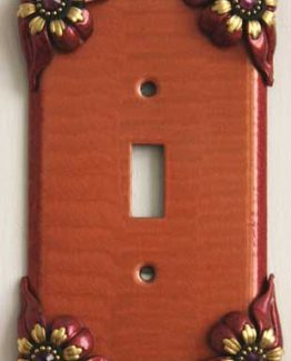 Susan Goldstick Decorative Switchplates Bloomer Poppy Switch Cover 1- Coral/Ruby/Amethyst Crystal