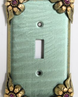Susan Goldstick Decorative Switchplates Bloomer Ivy Switch Cover 1- Aqua/Jade/Amethyst Crystal