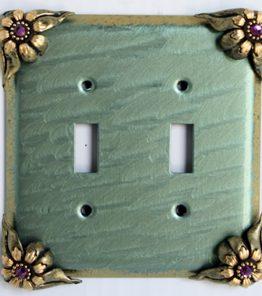 Susan Goldstick Decorative Switchplates Bloomer Ivy 2 -  Aqua/Jade