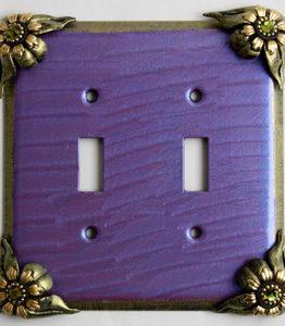 Susan Goldstick Decorative Switchplates Bloomer Iris 2 -Periwinkle /Jade