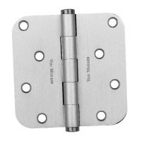"Von Morris-Brass Full Mortise Door Hinge-Residential Radius Corner 3.5""X 3.5""-Polished Brass"