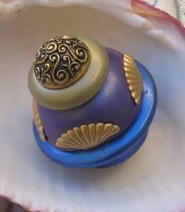 Susan Goldstick Lapis/Periwinkle/Jade Round Tudor Decorative Cabinet Knob
