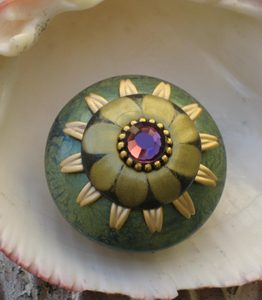 Susan Goldstick Turquoise/Black/Jade Mini Ivy  Decorative Cabinet Knob