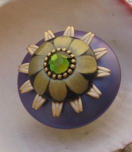 Susan Goldstick  Periwinkle/Black/Jade Mini Iris Decorative Cabinet Knob