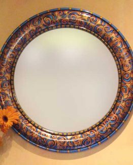 Susan Goldstick Decorative Mirror - Aurora Mirror-Copper/Lapis/Amber/Deep Gold