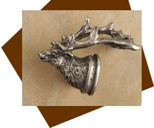 Anne  At Home Elk Head Cabinet Knob-Small-Left
