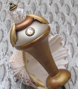 Susan Goldstick Decorative Curtain Tiebacks  - Tieback Birdie- Alabaster/Amber/Clear Bead