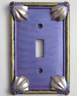 Susan Goldstick Decorative Switchplates Cleo Switch Cover1 - Periwinkle / Jade