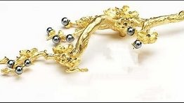 Symphony Designs  Cabinet Pull Floral Branch Pull /Gold Plated with Pearl and Smoked Crystal Right