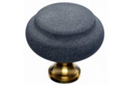 "Top Knobs Cabinet Hardware  Chateau Collection Blue Stone 1 3/8"" with Brass base"