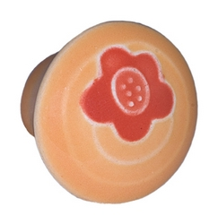 Acorn Manufacturing Cabinet Knob Small Round Gold w/Orange Flower