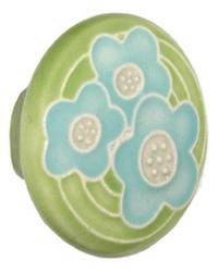 Acorn Manufacturing Large Round Lite Green Blue Flowers Cabinet Knob