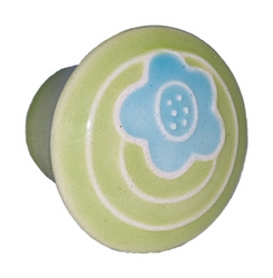 Acorn Manufacturing Small Round Green w/Blue Flower Cabinet Knob