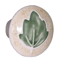 Acorn Manufacturing Small Round Green Leaf Ceramic Cabinet Knob