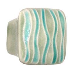 Acorn Manufacturing Ceramic Small Square Teal Sea Grass Cabinet Knob