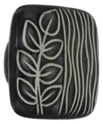 Acorn Manufacturing Ceramic Black White Sea Grass Cabinet Knob