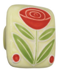 Acorn Manufacturing Large Square Ceramic Flower Two Berries Cabinet Knob