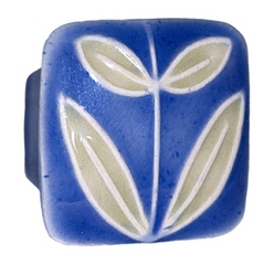 Acorn Manufacturing Small Square Dark Blue Leaves Cabinet Knob