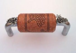 Vine Designs Brushed Chrome Cabinet Handle, cherry cork, silver grapes accents