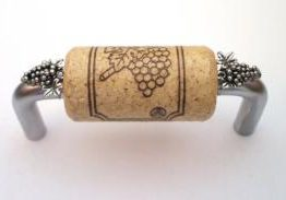 Vine Designs Brushed Chrome Cabinet Handle, natural cork, silver grapes accents