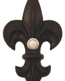 Waterwood Hardware Decorative Fleur Di Lis Doorbell-Large-Black