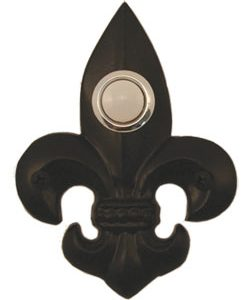 Waterwood Hardware Decorative Fleur Di Lis Doorbell-Small-Black