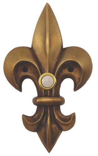 Waterwood Hardware Decorative Fleur Di Lis Doorbell-Large-Antique Brass