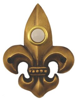 Waterwood Hardware Decorative Fleur Di Lis Doorbell-Small-Antique Brass