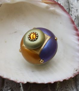 Susan Goldstick Periwinkle / Deep Gold Nu Duo Decorative Cabinet Knob