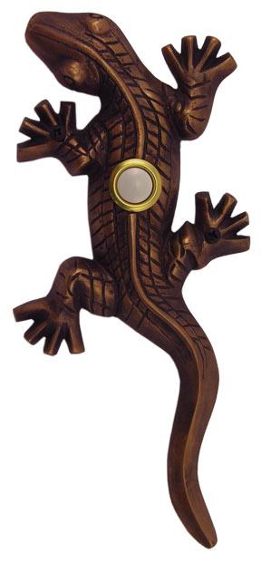 Waterwood Hardware Decorative Lizard ( Gecko )Doorbell-Oil Rubbed Bronze