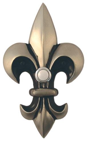 Waterwood Hardware Decorative Fleur Di Lis Doorbell-Large-Pewter