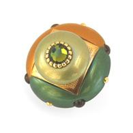 Susan Goldstick Deep Gold Mini Duo Emerald Cabinet Knob 2 inch