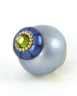 Susan Goldstick Nu Tiki Light Sapphire 1.5 inch Cabinet Knob