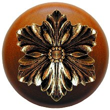 Notting Hill - Opulent Flower Wood Knob in Brite Brass/Cherry wood finish