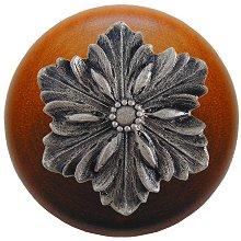 Notting Hill - Opulent Flower Wood Knob in Satin Nickel/Cherry wood finish