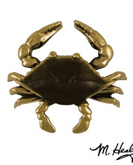 Michael Healy Blue Crab Door Knocker - Brass/Brown Patina- Premium