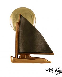 Michael Healy Catboat at Sunset Door Knocker - Brass/Bronze-Premium