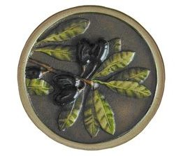 Notting Hill Cabinet Knob Olive Branch Brass Hand Tinted