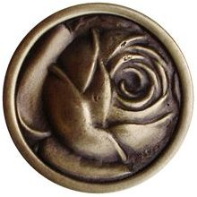 """Notting Hill Cabinet Knob McKenna's Rose Antique Brass 1-5/16"""" diameter"""