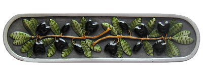 Notting Hill Cabinet Pull Olive Branch Pewter Hand Tinted