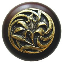 Notting Hill Cabinet Knob Tiger Lily/Dark Walnut Antique Brass