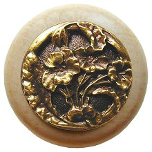 Notting Hill Cabinet Knob Hibiscus/Natural Antique Brass