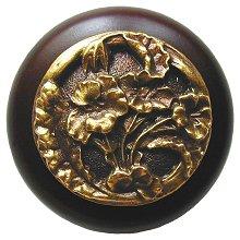 Notting Hill Cabinet Knob Hibiscus/Dark Walnut Antique Brass