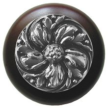 Notting Hill Cabinet Knobs Chrysanthemum/Dark Walnut Satin Nickel