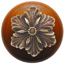 Notting Hill Cabinet Knob Opulent Flower/Cherry Antique Brass