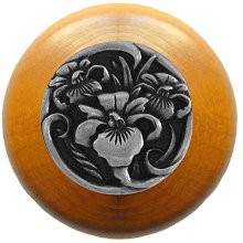 Notting Hill Cabinet Knob River Iris/Maple Brilliant Pewter