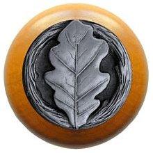 Notting Hill Cabinet Knob Oak Leaf/Maple Antique Pewter