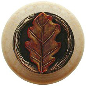 Notting Hill Cabinet Knob Oak Leaf/Natural Brass Hand Tinted